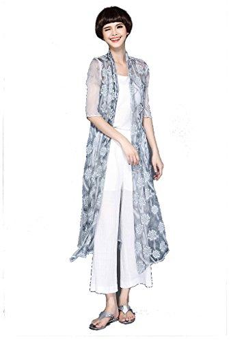 ARTOULAN Summer Women's Grey Half Sleeve 100% Silk Dandelion Embroidery Split Long Cardigan by ARTOULAN