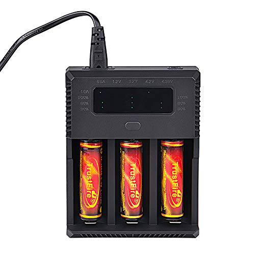 Price comparison product image TrustFire TR018 Rechargeable Intelligent Battery Charger, 3 Slots for Li-ion IMR 3.7V Lithium Batteries and 1.2V Ni-MH AA/AAA Batteries, AC 100-240V/5.5mm DC 12V Output, Battery Not Included