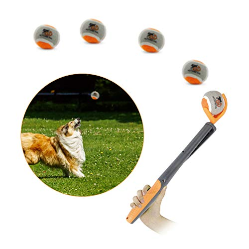 Retractable 1 Long Cord Comfort (All for Paws Outdoor Retractable Ball Thrower, Dog Toy Ball Launcher, Includes One Tennis Ball)