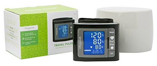 Vitagoods Travel Pulse Wrist Blood Pressure Monitor with Cas