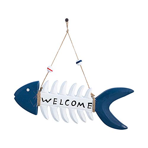 (Sorthia Creative Wooden Fish Bone Sign Wall Hanging Welcome Sign Wall Art Sign Size 11