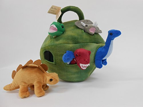 Play In Case (Plush Dinosaur House with Dinosaurs - Six (6) Stuffed Animal Dinosaur in Play Dinosaur Carrying Case)
