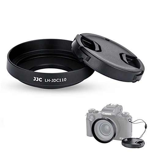 Camera Lens Hood & Lens Cap JJC Lens Shade Cover for Canon PowerShot G1X Mark III Replaces Canon LH-DC110 Lens Hood with 1 Lens Keeper & 1 Bag