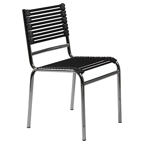 (Zuri Furniture Bobbie Stacking Flat Side Chair in Black with Chrome Base - Set of)