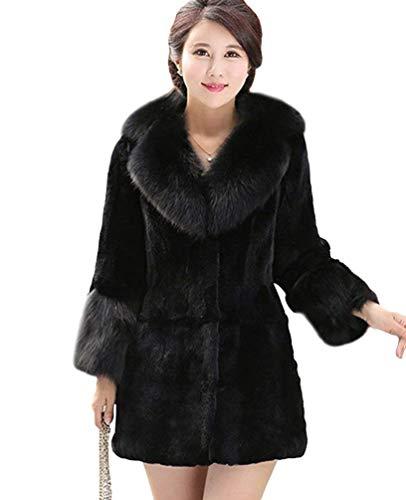 Femme Parka Longues Warm Hiver Trench lgant Spcial Style Pelzmantelkapuze Festive Vintage Gaine A Capuche paissir Outwear Coat Schwarz#3