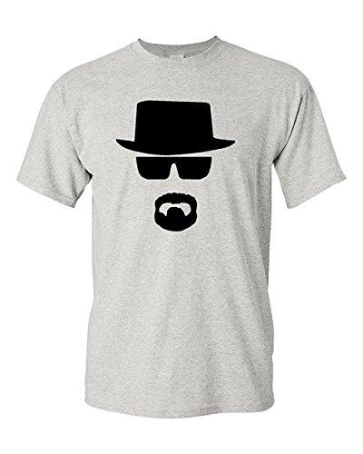 Heisenberg W. White Face Adult T-Shirt Tee (Large, Grey)
