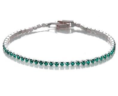 ef6653bba5dd Silvity pulsera de plata con diamantes de imitación de lujo para mujer  18  x 0