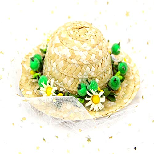 Yu-Xiang Pet Dog Sunflower Straw Hat Handcrafted Rose Lovely Sun Hat Accessories Adjustable Chin Strap for Dogs and Cats (M, Green Daisy)