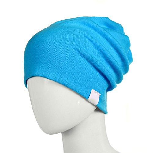 DITTMURI Slouchy Beanie Cuff Skull Cap Summer Knit Hat Cuffed Cap for Infant Baby Boy Girl Peacock Blue