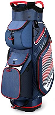 Golf Cart Bag 14 Dividers Top Clubs Organizer Lightweight with Cooler Pouch, Dust Cover and Backpack Strap