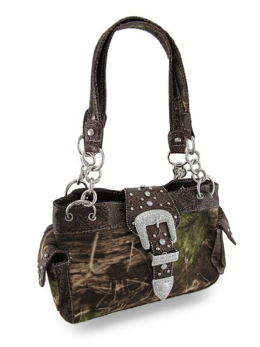 Handbags Polyester Buckle Western Womens Rhinestone Purse Brown Camouflage qrA5C