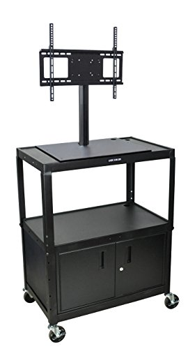 - LUXOR AVJ42XLC-LCD Extra Wide Steel Adjustable Height A/V Cart with LCD Mount and Cabinet