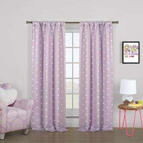 Lala + Bash - Kelly Printed Heart Pattern Blackout Room Darkening Pole Top Window Curtains Pair Panel Drapes for Bedroom, Living Room - Set of 2 Panels - 37 X 84 Inch - Lilac