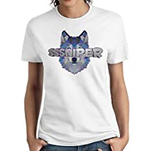 Joan C. Smith Women's SSniperWolf Logo Fashion Short T ShirtParticular Tee White