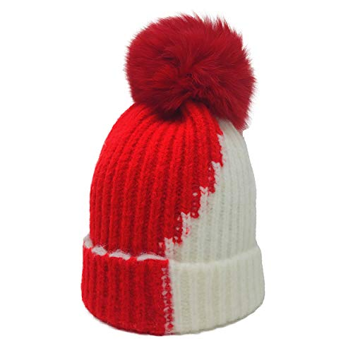 xsby Winter Warm Fleece Lined Hat, Infant Toddler Kids Beanie Knit Cap for Girls and Boys Kids Red and White