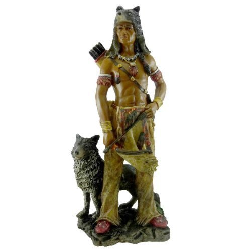 Native American Warrior w/Wolf Collectible Indian Figurine Sculpture