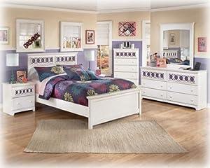 bedroom sets full. Ashley Zayley White Full Size Bed set Amazon com  Kitchen Dining