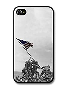 WWII American Soldiers Raise the Flag Stars and Stripes Victory Retro case for iPhone 4 4S