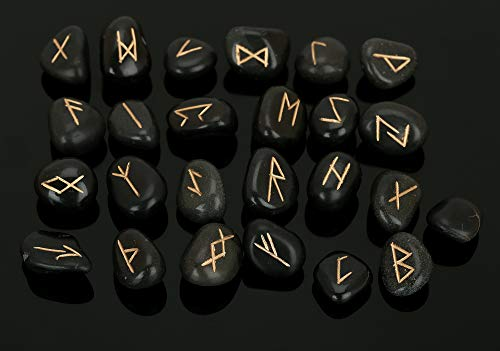 Tumbled Accessories Black - Natural Crystal Tourmaline Rune Stones Tumbled Engraved Lettering Crystal Set for Wicca Crystals Reiki Healing Chakra