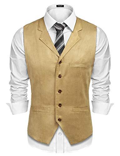 COOFANDY Men's Suede Vest Slim Fit Jacket Casual Suit Vest Waistcoat, Khaki, Large