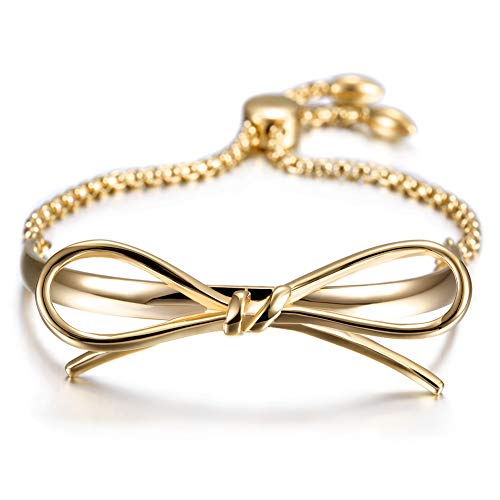 - JINBAOYING Gold Bracelets Women Bow Charm Bracelets Stainless Steel Adjustable Slider Link Bracelet for Women Girls Jewlery Gift