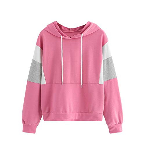 Fall Winter Blouse,Morecome Women's Long Sleeve Tricolor Cut and Sew Drawstring Hoodie Sweatshirt Blouse Top ()