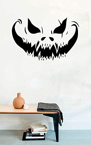 Vinyl Wall Decal - Scary Face Vampire Pumpkin Halloween - Home Decor Sticker Vinyl Decals
