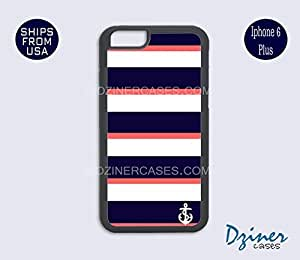 iPhone 6 Plus Case - Anchor Blue Coral Stripes iPhone Cover