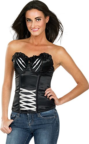 Secret Wishes DC Comic Justice League Adult Corset Top Catwoman, Black, (Batman Catwoman Cosplay Costume)