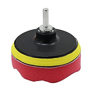 OCR 4inch Car Polishing Buffer Waxing Buffing Pad Drill Polishing Sponge Wheel Set with Drill Adapter for M10 Connector Drill (4inch-10pcs)