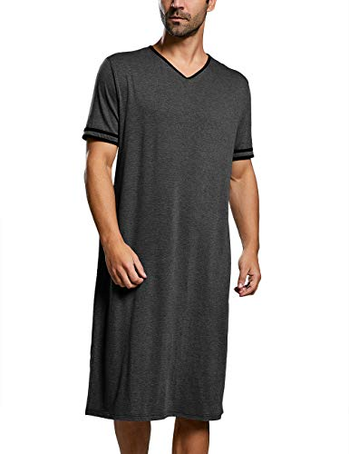 Enjoybuy Mens Sleepshirt Short Sleeve Nightgown Striped Long Night Shirts V Neck Sleepwear Nightwear