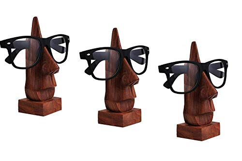 IndiaBigShop Wood Spectacle Holder Wood Nose Premium Quality Eyeglass Holder/Spectacle Display Stand - Unique Desktop Accessory Exclusive Offer Set of 3