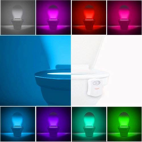 Voion 2017 New Arrival Sensor Motion Activated LED Toilet Night Light,Toilet Bowl Light,Motion Sensing Night Light - 8 colors (White) (Halloween 2017 Toilet)