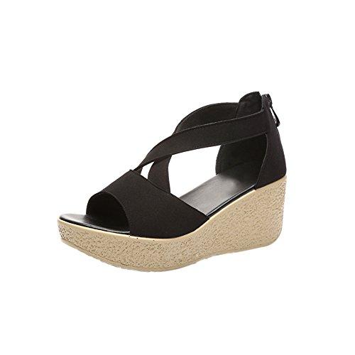 Flatform Strap Women's fereshte Toe Sandals Shoes Platform Black Peep Zip Cross Suede up XOOvT