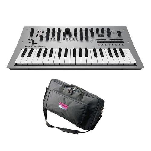 Korg Minilogue 4 Voice Polyphonic Analog Synthesizer with 200 Presets - Bundle With Gator Cases GK-2110 Micro Keyboard Bag