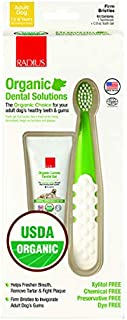 product image for RADIUS USDA Organic Dental Solutions Adult Kit Toothbrush & Toothpaste | Firm Bristle & Non Toxic Toothpaste for Dogs | Designed to Clean Teeth and Help Prevent Tartar and Remove Plaque | Xylitol Free