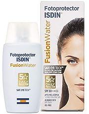 Ahorra en Fotoprotector ISDIN Fusion Water SPF 50+, Protector Solar Facial Uso Diario, Textura Ultraligera 50ml y más