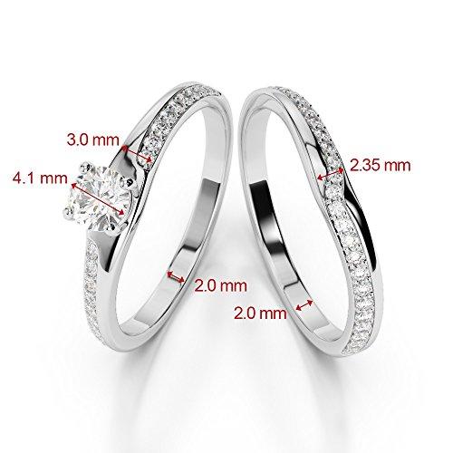 Or Rose 18carats 0,61CT G-H/VS sertie de diamants Coupe ronde de mariage Bague de fiançailles et ensemble de Agdr-2015