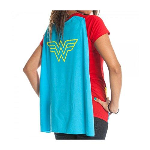 Wonder Woman - Bioworld mujer dc comics cape camiseta rojo : xl