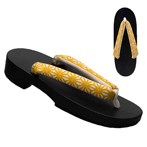 black Geometry Traditional Sandals Floral yellow Shoes Sole Women's sofei Geta Japanese B Wooden Ez gq7wBB