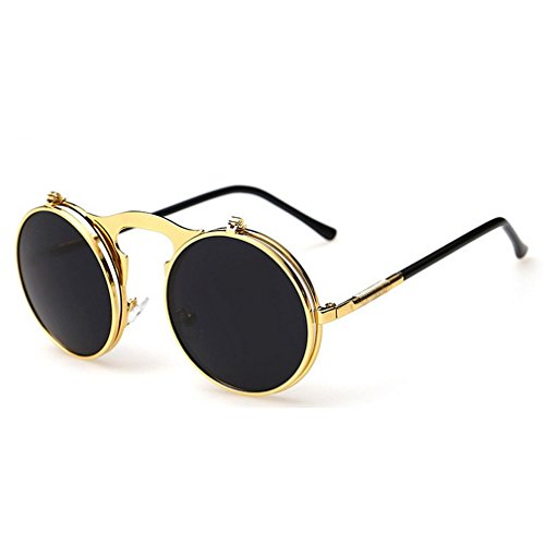 G&T 2016 Retro Fashion Metal Frame Clamshell Lens Round Beach Sunglasses(C7)