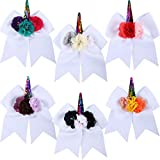 Jetec 6 Pieces Unicorn Shape Cheer Hair Bows Large Colorful Ponytail Holder Elastic Hair Ties for Girls and Women (Style 2)