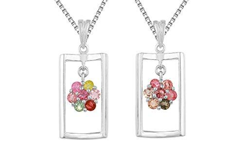 - Sterling Silver Natural Tourmaline Encased Flower Shaped Gemstone Pendant Necklace 20