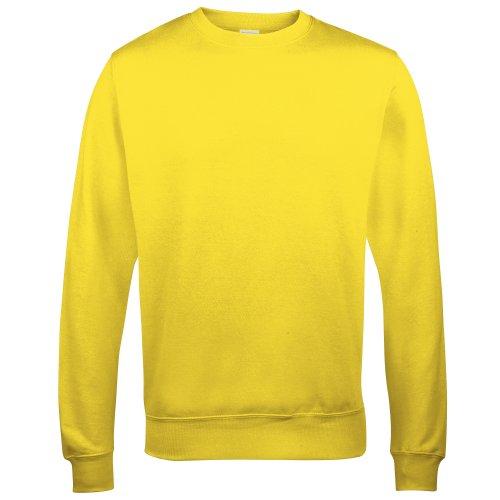- Awdis Just Hoods Unisex Crew Neck Plain Sweatshirt (280 GSM) (XS) (Sun Yellow)