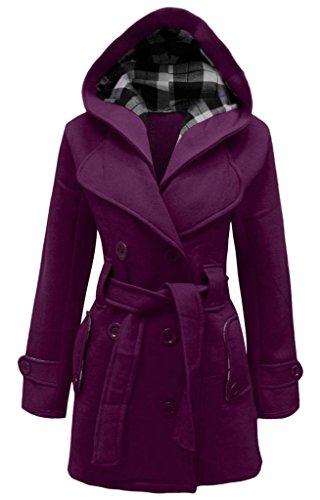Manteau Pour Tailles Capuche Femme Femmes Veste Ceinture Top Avec Violet Polaire À ASqw4