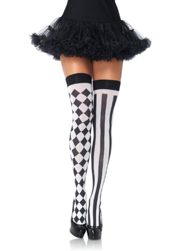 Leg Avenue Women's Harlequin Thigh High Stockings, Black/White, One Size