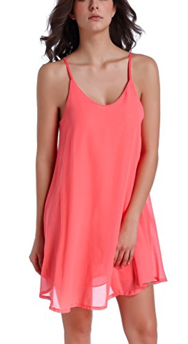 Chamllymers Women's Chiffon Sexy Sleepwear Slip Chemises Nightshirt Orange L