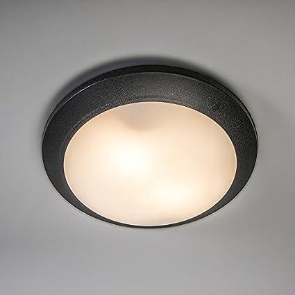 QAZQA Moderno Plafón UMBERTA negro sensor Plástico Redonda Adecuado para LED Max. 2 x 60 Watt: Amazon.es: Iluminación