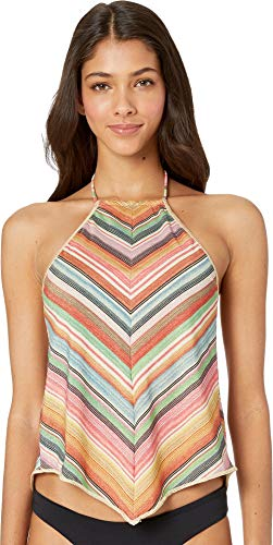 (Becca by Rebecca Virtue Women's Metallic Stripe High Neck Tankini Top Multi L)
