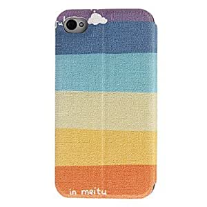 YXF Colorful Stripe Pattern Full Body Case with Window for iPhone 4/4S